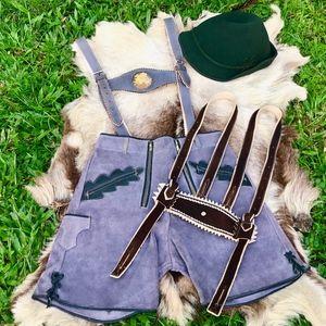 Authentic 1940s Suede Lederhosen & Wool Alpine Hat